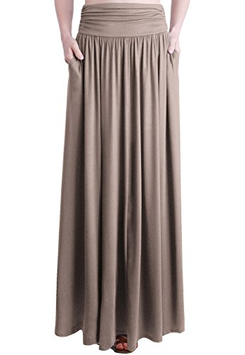 (TRENDY UNITED Women's Rayon Spandex High Waist Shirring Maxi Skirt with Pockets (TFE, XX-Large) )