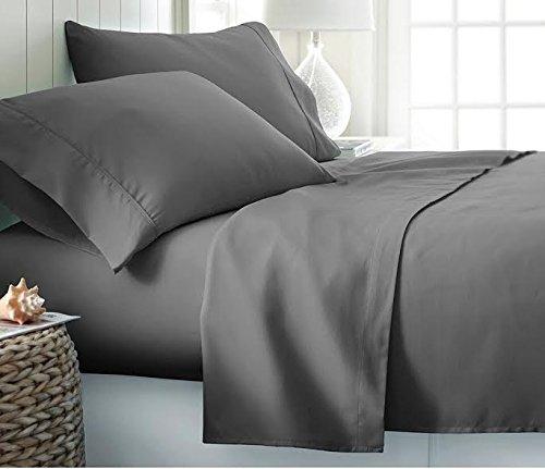 RV Mattress Short Queen Sheet Set - (60x75) Solid Dark Grey 400 Thread Count Egyptian Cotton -Made Specifically for RV, Camper & Motorhomes