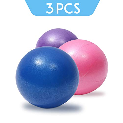 XIECCX Mini Yoga Balls 9 Inch 3 Piece Pilates Exercise Soft Balls Therapy Squishy Bender Balls for Stability Balance Training for Core Training Physical Therapy, Improves Balance Inflatable Straw