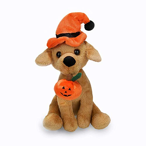 Halloween Stuffed Animals Bulk (Plushland Halloween Pawpals 8 inches Puppy Dog Plush Stuffed Toy Comes with Hat and Halloween Jack O Lantern - Pumpkin for Kids on This Holiday)