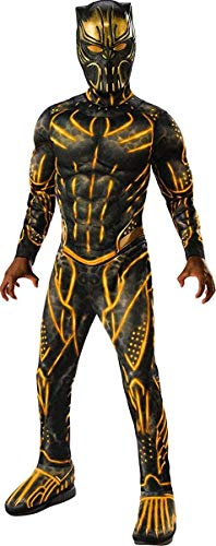 The Flash Halloween Costume Girl (Rubie's Child's Deluxe Black Panther Movie Erik Killmonger Costume, Black/Gold,)