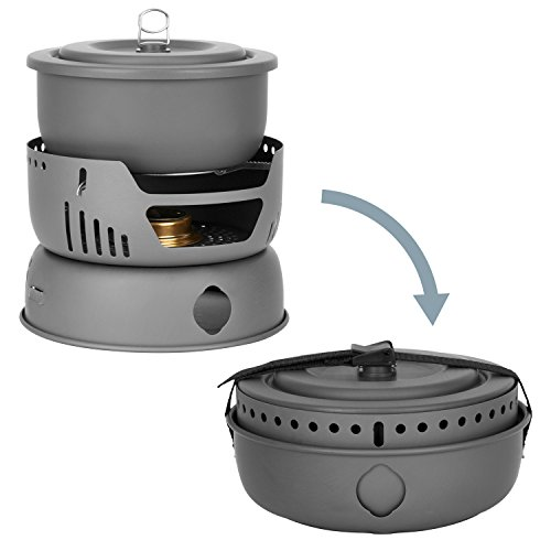 Winterial Alcohol Stove Burner Camping Set / 9 piece / Backpacking / Campfire Cookware / Camping Cookware / 2.1 lbs / Carry bag INCLUDED!