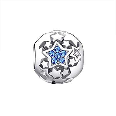 Glamulet Bright Pave Swarovski Crystal Charms Sterling Silver Antique Round Beads for Women by Glamulet