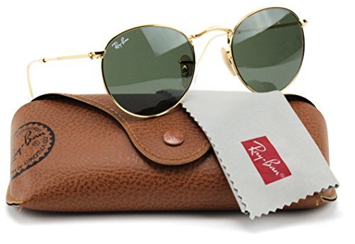 Ray-Ban RB3447 001 Round Sunglasses Arista Gold / Crystal Green Lens - Raybans Metal Round