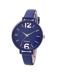 Women Watch,LSVTR Women's Faux Leather Analog Quartz Wrist Watch-Deep Blue