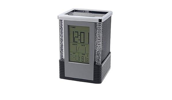 Amazon.com : eDealMax linterna de múltiples funciones del LCD del reloj del calendario Titular de la Pluma, Negro : Office Products