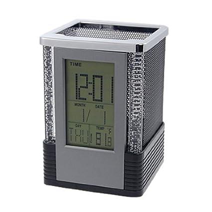 eDealMax linterna de múltiples funciones del LCD del reloj del calendario Titular de la Pluma,