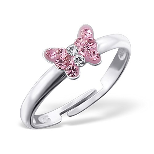(Tiny Butterfly Ring Light Pink Crystals Girls Size Adjustable Sterling Silver 925 (E19434))