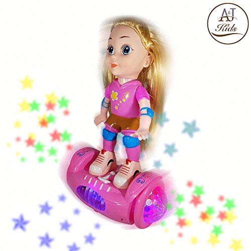 (ANJ Kids New Holiday Toys - Lovely Girl Doll Toy for Kids; Battery Operated Girls Doll Riding Hover Board; Rolling, Rotating, Music and Beautiful Flashing Lights; Best Doll Toy for Girls)