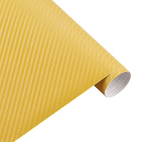 50Cm Wide 3D Carbon Fiber Vinyl Film 3M Car Stickers Waterproof DIY Auto Vehicle Motorcycle Car Styling Wrap Roll Car Styling Yellow 3m x 50cm