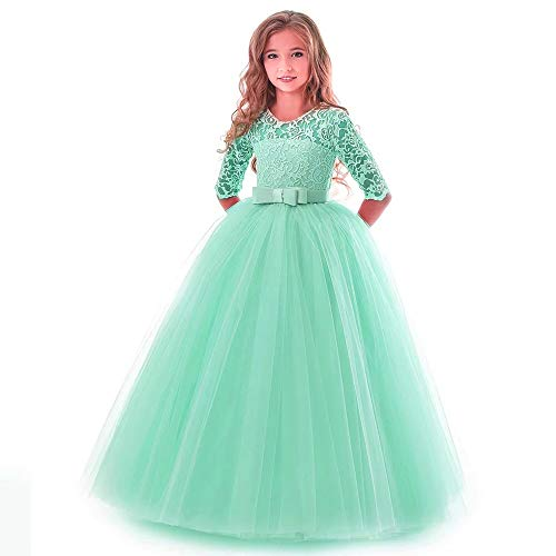 Girls Green Dress Vintage Long Ball Gown for Special Occasion Wedding Party Girls 9-10 Years Halloween Fancy Party Dress Fluffy Full Length for Teens Bridesmaid Dresses (Green 150)