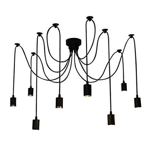 Lightess Vintage Multiple Ajustable DIY Ceiling Spider Pendant Lighting Chandelier 8 Heads E26