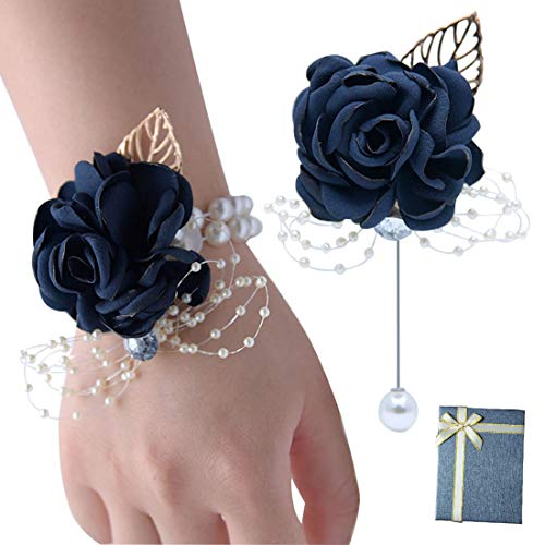 VEIDO Wrist Corsage Rose Flower Brooch for Wedding Party Prom Wristband Flower Set (Navy - Box Pack) ()