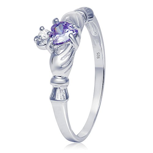 Sterling Silver Claddagh Promise Ring For Her with Simulated Lavender Sapphire And Cubic Zirconia, 6mm (8)