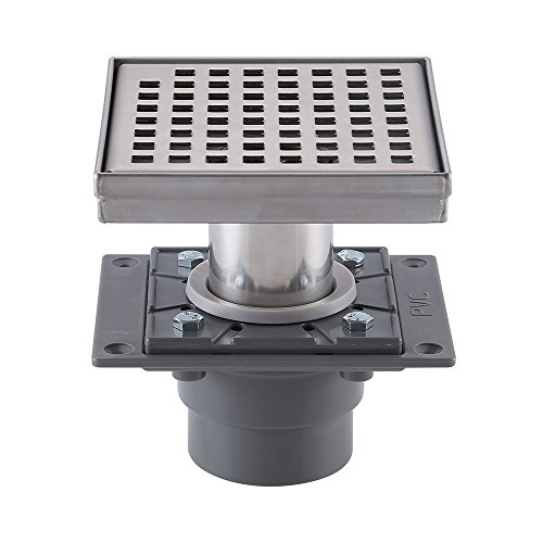 KES Square Shower Floor Drain with Rubber Base and Removable Grate Strainer SUS 304 Stainless Steel Bathroom Drainer for Tile Shower Base, V255S14-C1