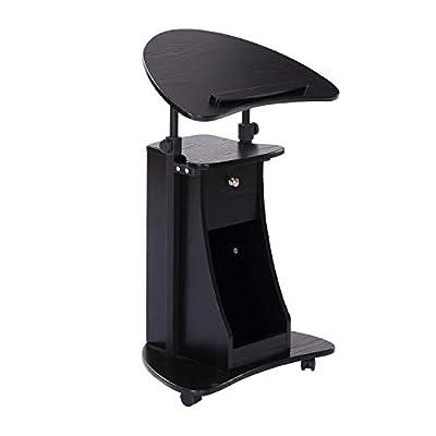 "HomCom 32"" - 46"" Height Adjustable Laptop Cart with Storage - Black"