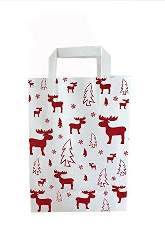 """50 Stück Papiertragetaschen Weihnachten """"weiß - Elch rot"""" 18 + 8 x 22 cm"""