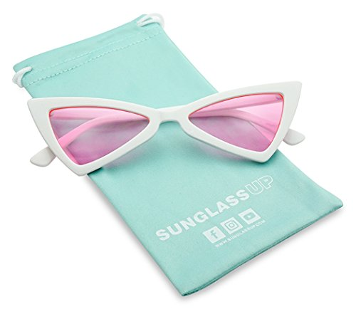 Small Sleek Narrow Retro Triangle Bow-Tie Shaped Extreme Cat Eye Sun Glasses (White Frame | Pink)