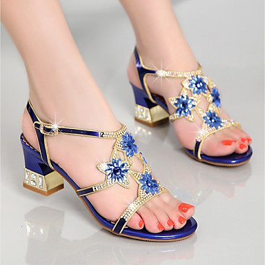 Heel Rhinestone Women'S Club Evening UK3 amp; US5 Casual CN34 Shoes Blue Purple Dress RTRY Summer Leather Chunky Party Sandals Nappa Gold EU35 xf6ApqOd