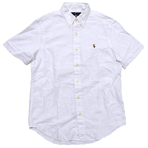 Polo Ralph Lauren Men's Chambray Oxford Buttondown Short Sleeve Shirt (L, White)
