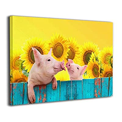 "Yanghl 16""x20"" Canvas Wall Art Prints Funny Pig Hanging On A Sunflower Fence Modern Decorative Artwork for Wall Decor and Home Decor Framed Ready to Hang"