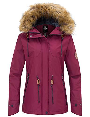 Wantdo Women's Waterproof Ski Jacket Hooded Winter Snow Coat Mountain Snowboarding Jackets Insulated Fleece Parka