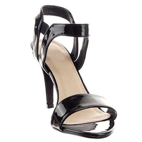 Sopily - Zapatillas de Moda Tacón escarpín Stiletto Caña baja mujer brillantes Hebilla Talón Tacón de aguja alto 9.5 CM - Negro