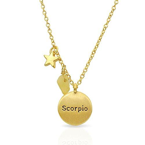 "Miraclelove Gold Plated Brass Zodiac Charm Handmade Gemstone Pendant Necklace, 18"""