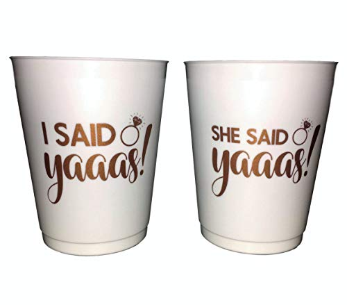 Rose Gold Bachelorette Party Cups | 15 She Said Yaaas Cups for Bachelorette Party and 1 Special I Said Yaaas Cup for Bachelorette | Cherished Memories Bachelorette Party Cups & Bridal Shower Cups