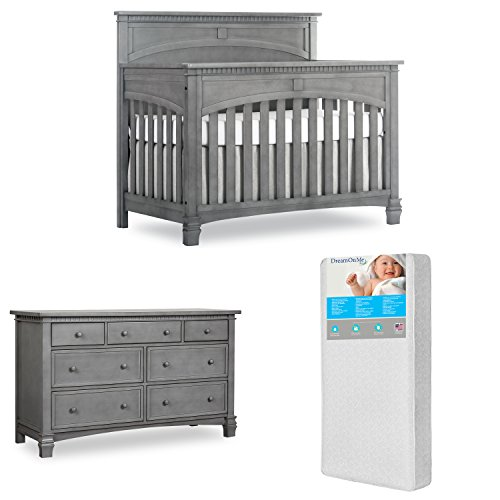 Evolur Santa Fe 5 in 1 Convertible Crib and Double Dresser with Free 260 Coil Crib and Toddler Mattress