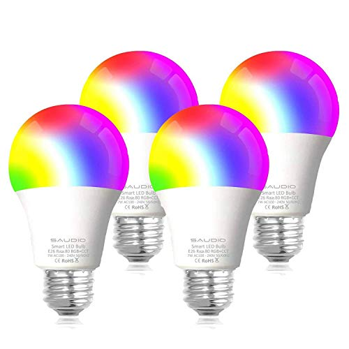 Smart WiFi Alexa Light Bulbs 2.4G, SAUDIO LED RGB Color Changing Bulbs, Compatible with Siri,Alexa,IFTTT and Google Home Assistant, No Hub Required, A19 E26 Multicolor 4 Pack