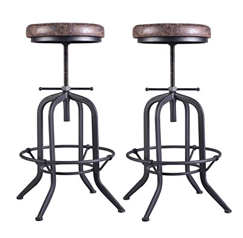 Set of 2 Industrial Bar Stool,Kitchen Stool-Adjustable Swivel Vintage Pu Leather Bar Stool-Rustic Bar Stool with Cushion Seat-Metal Iron Pipe Stool-Extra Tall Pub Height 29-35 Inch,Fully Welded ()