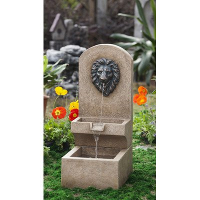 Jeco Polyresin and Fiberglass Lion Head Wall Tier Fountain