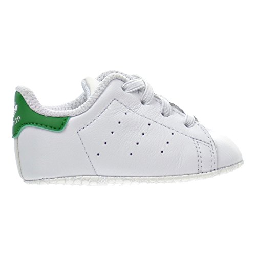 adidas Originals Boys' Stan Smith Crib Sneaker, White/White/Green, 4 Medium US Infant Adidas Leather Crib Shoes