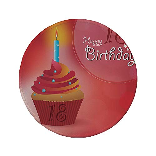 Non-Slip Rubber Round Mouse Pad,18th Birthday Decoration,Sweet Eighteen Party Birthday Cupcake with Candles,Hot Pink Red and Orange,11.8