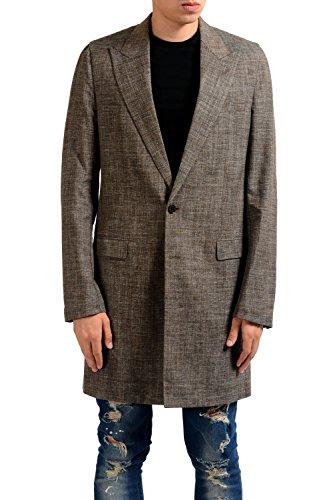 Linen Silk Coat - Maison Margiela 10 Men's Wool Silk Linen Brown Blazer Coat US 40 IT 50;