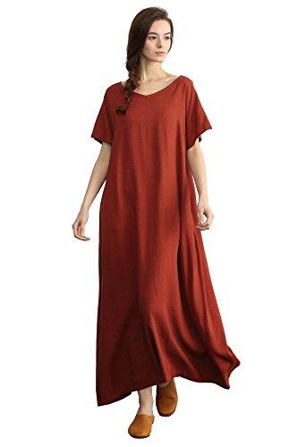 Sellse Women's Linen Loose Summer Long Dress Plus Size Cotton Clothing,Brown-red,XXX-Large