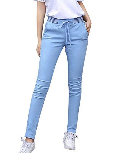 Elastico Pantaloni Donna Taglie Matita In Con Skinny Coulisse Blu Vita Comode 0w1d6w