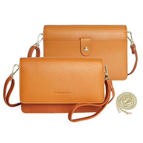 S SUNINESS Women Genuine Leather Small Crossbody Bag Cellphone Purse Clutch Wallet Wristlet With RFID Card Slots