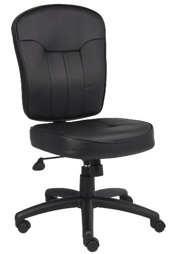 Boss Leather Adjustable Task Chair Without Arms, Black by Boss Office Products