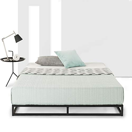 """Mellow Queen Low Profile 6"""" Metal Platform Bed Frame Type w/Classic Wooden Slat Support Mattress Foundation (No Box Spring Needed), Black"""
