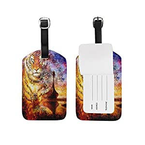 Mydaily Boat And Tiger Vintage Luggage Tags PU Leather Bag Suitcases Baggage Label 2 Pieces Set