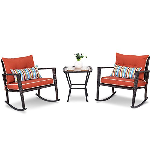 CHOOSEandBUY 3 Pcs Patio Rattan Wicker Furniture Set Rocking Chair Coffee Table Table Coffee Top Vintage Antique Style Rectangular Glass Marble Base Wood