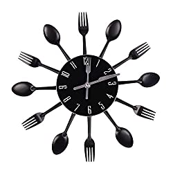 Abill Black Cutlery Clock For Kitchen Fork Knife Spoon Decorative Wall Clock