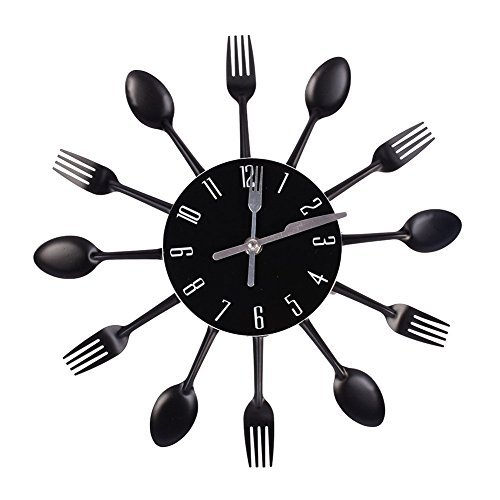 Abill Black Cutlery Clock For Kitchen Fork Knife Spoon Decorative Wall Clock (Decorative Spoon And Fork Large)