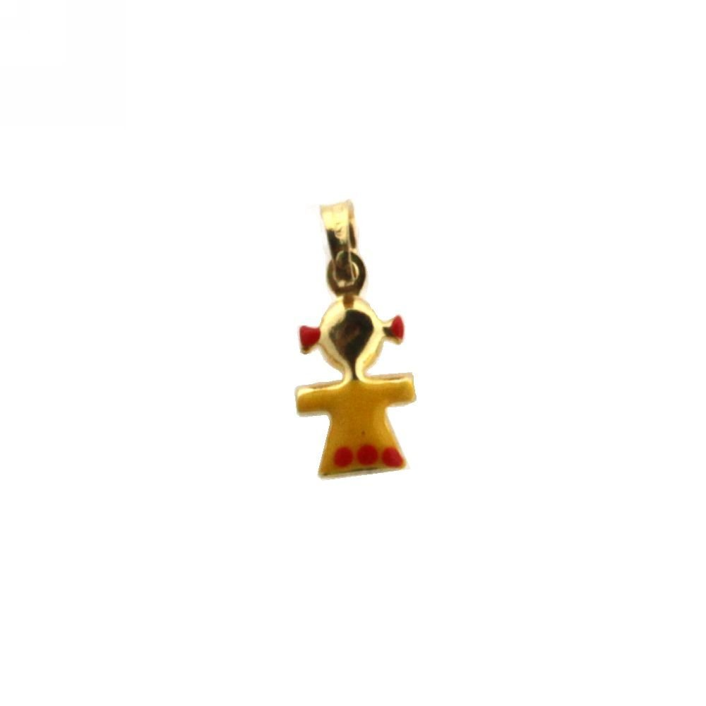 8mm X 7mm//14mm with Bail 18K Yellow Gold Yellow Enamel Girl Charm