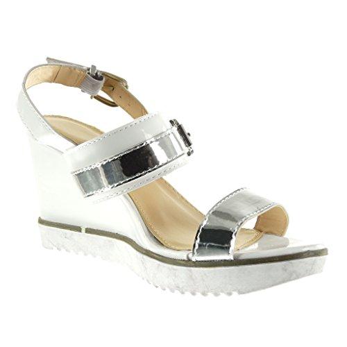 Angkorly - Scarpe da Moda sandali Mules suola di sneaker con cinturino alla caviglia donna lucide fibbia Tacco zeppa piattaforma 9 CM - Bianco