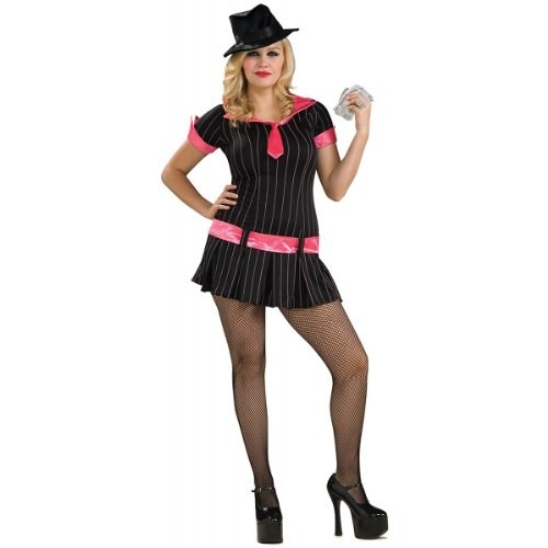 Secret Wishes Plus Size Gangsta Girl Costume, Black, -