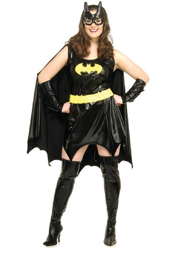 Sexy Plus Size BatGirl Costume Mini Dress Movie Costume Comic Book 6 Pc Set -