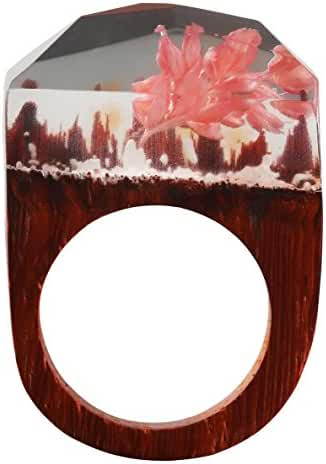 Handmade Wood Resin Rings Fantastic Pink Flowers Snow World Inside For Womens